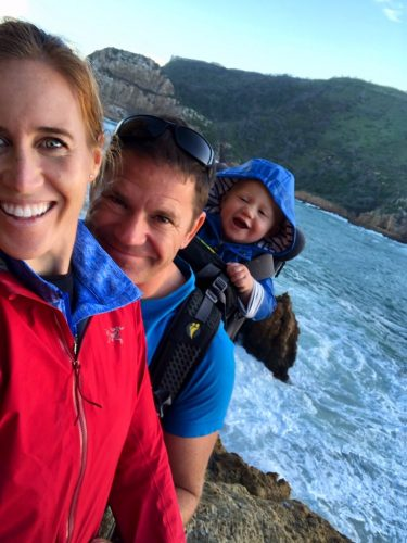 Olympic rower Helen Glover SteveBackshall and son walking on the beach in Cornwall