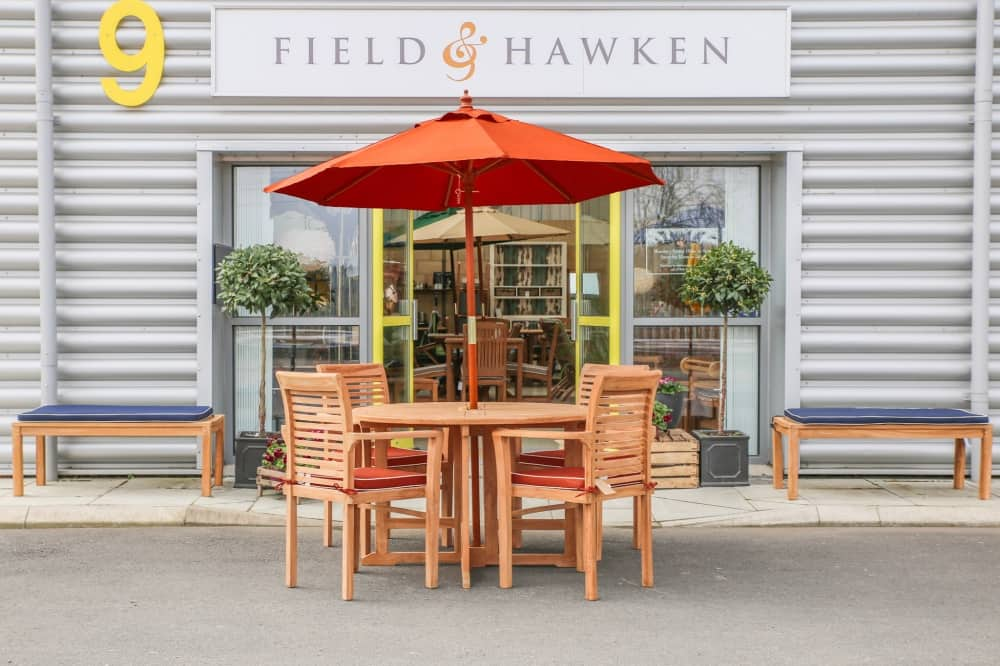 Field and Hawken Reading Store garden furniture outside showroom