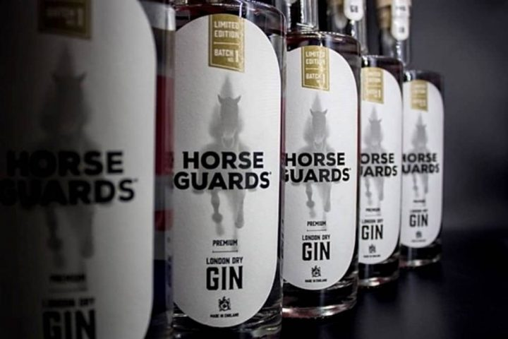 Five bottles of Horse Guards Gin lined up