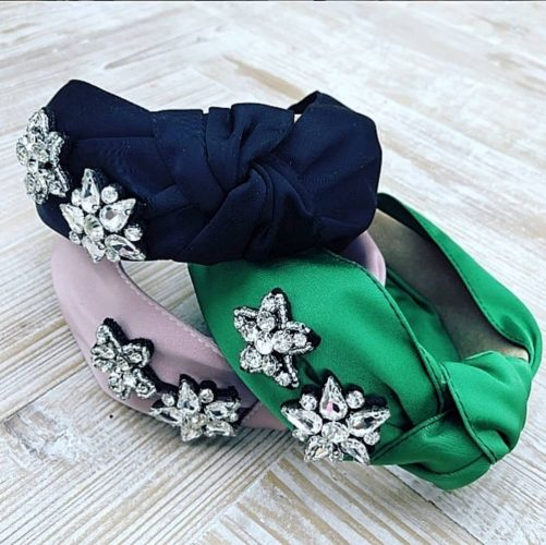 Millie Pink silk headband wiith rhinestone crystal embellishments in navy green and pink