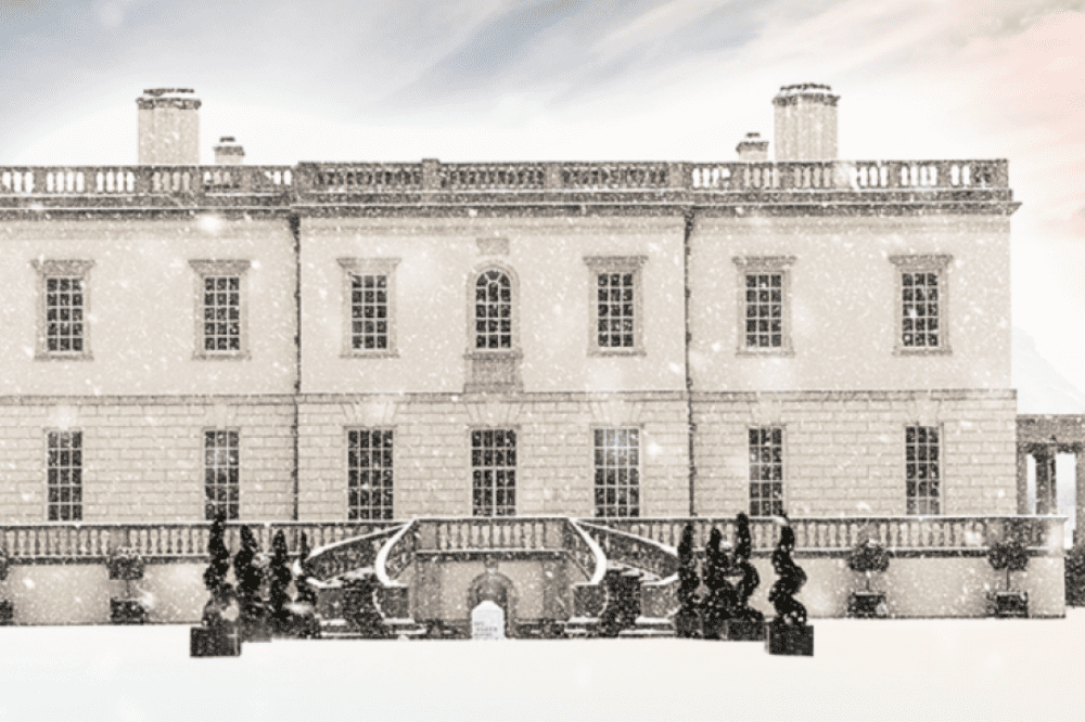 Queens house ice rink in Greenwich white classical home of Queen Henrietta in the snow