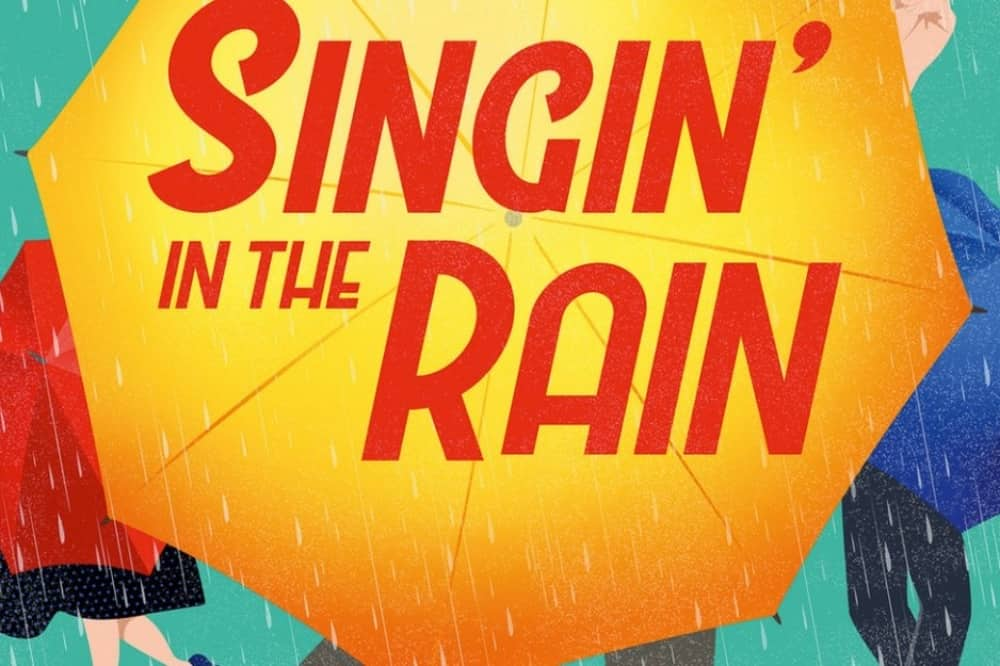 Singin In The Rain Mill at Sonning Berkshire – illustration of umbrellas with title
