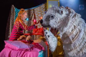 The Bear Norden Farm Maidenhead Pins and Needles Production bear puppet saying goodbye to Tilly
