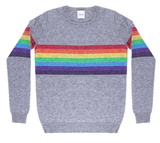Madeleine Thompson grey and rainbow stripe cashmere jumper