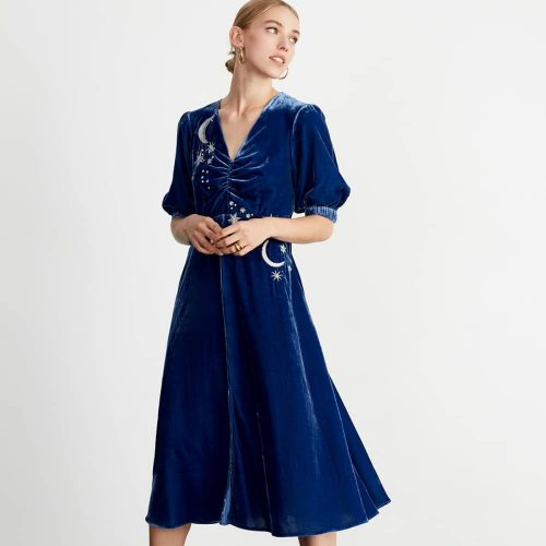 Kitri Studio blue velvet dress