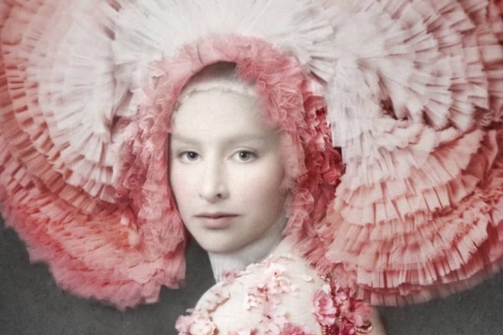 London Art fair image of woman in pink floral dress and tulle headress