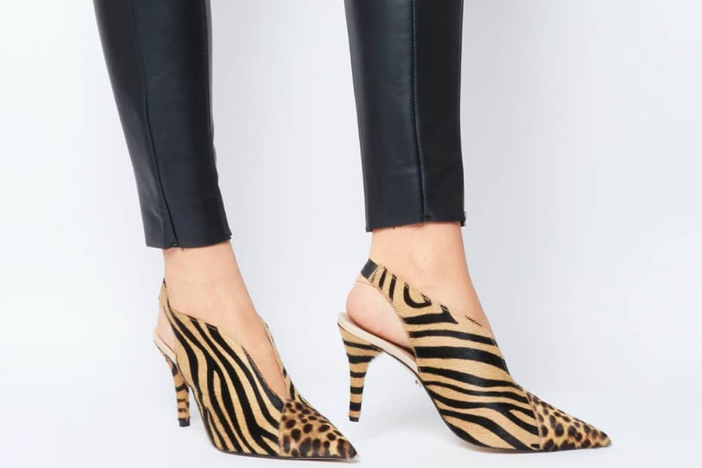 Office shoes sling back heeled shoes leopard and zebra print