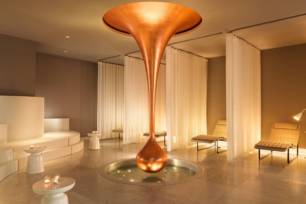 Sea Containters Hotel Agua Spa relaxation room with sculptural copper drop