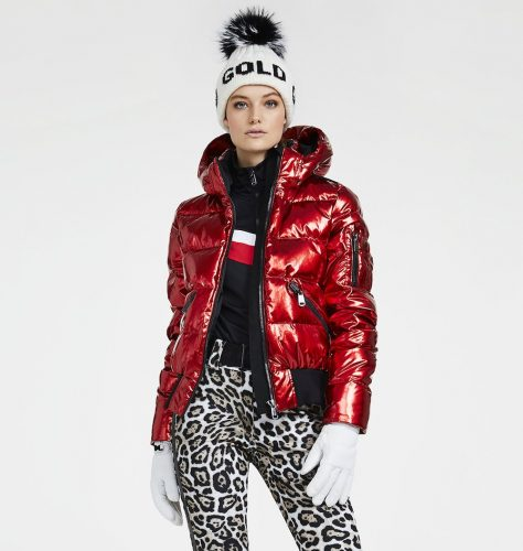 Goldbergh Metallic red puffer jacket
