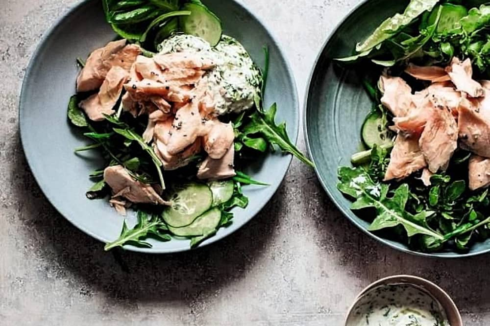 Giancarlo Caldesi low carb meals cooked salmon and green salad