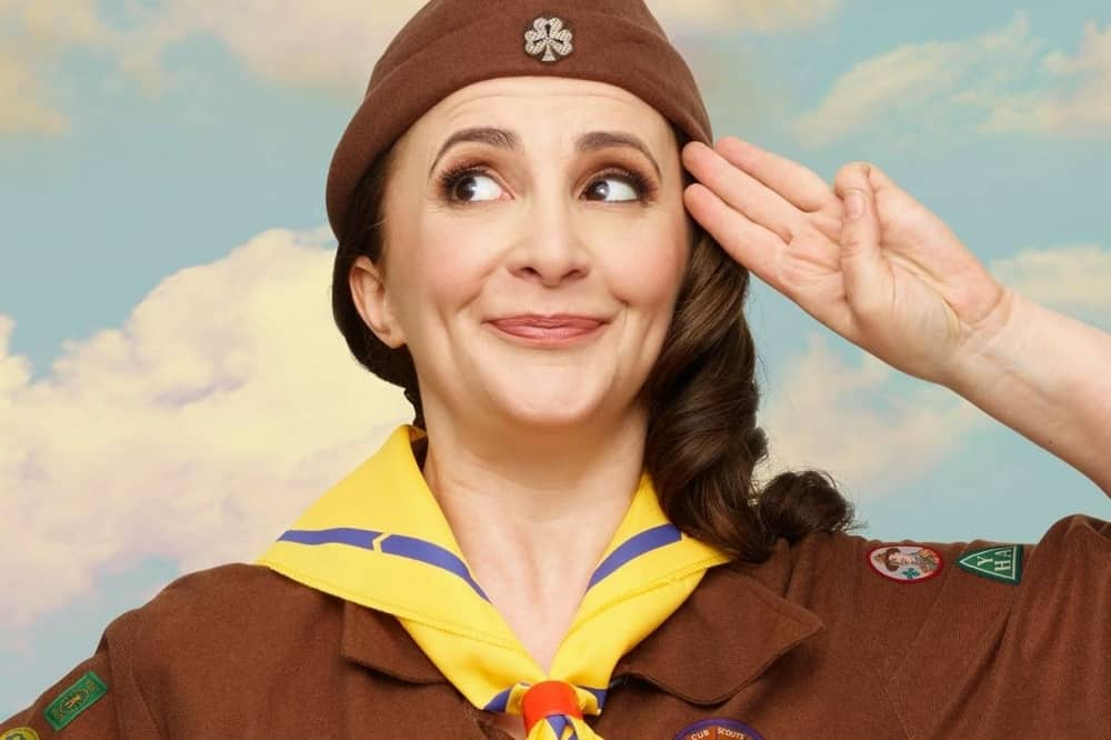Lucy Porter Be Prepared comedian wearing a brownie uniform