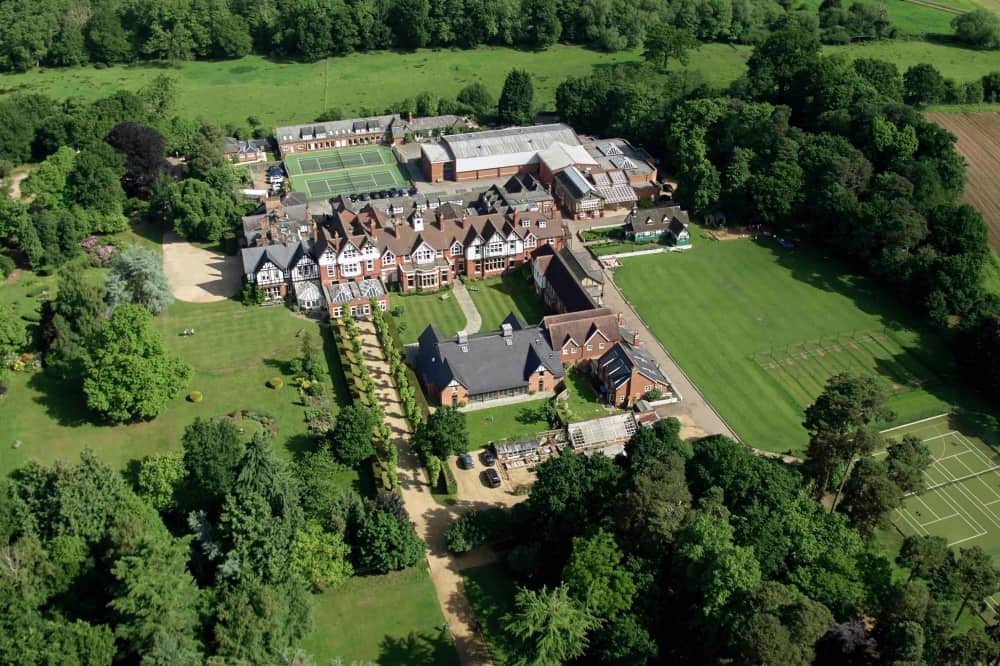 Ludgrove aerial shot of the school sports facilities and playing fields Berkshire