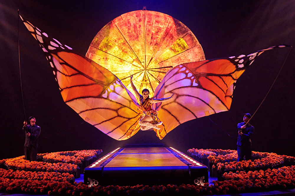 Luzia Cirque du Soleil acrobat with butterfly winds