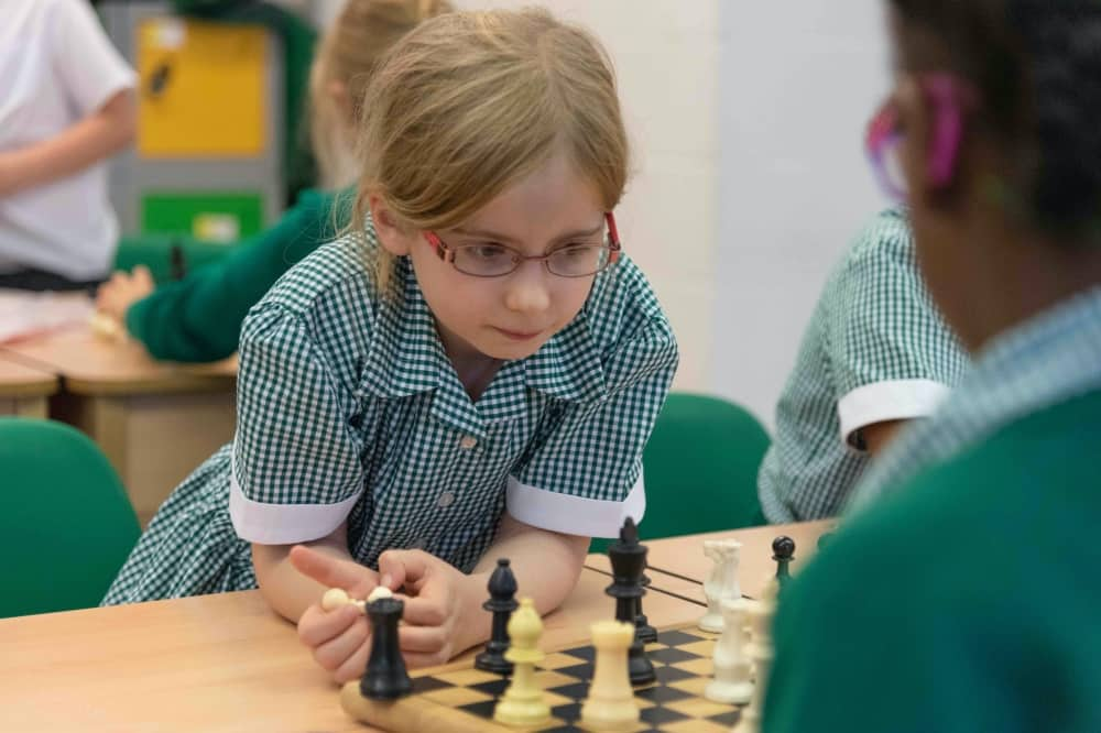 Waverley Prep Wokingham Berkshire girl playing Chess