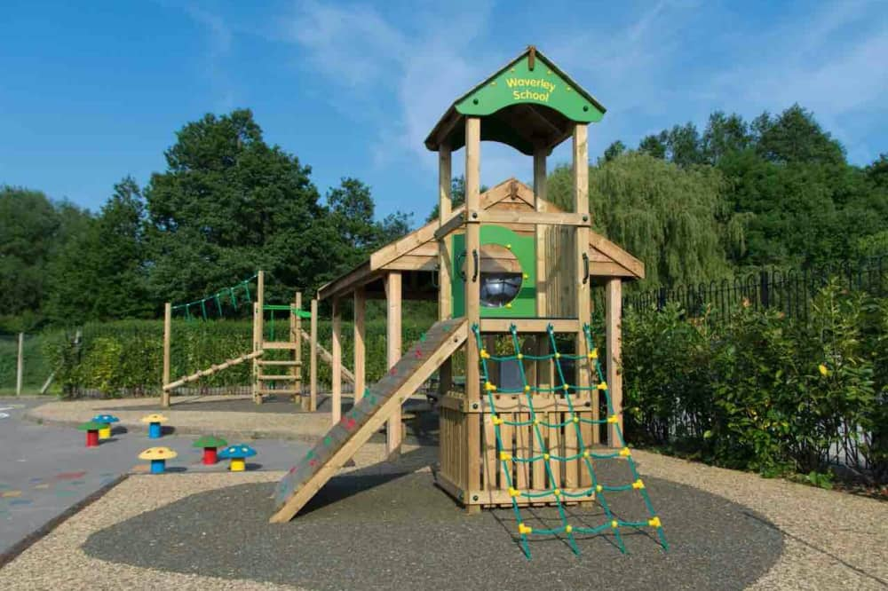 Waverley School and Nursery Wokingham wooden adventure playground