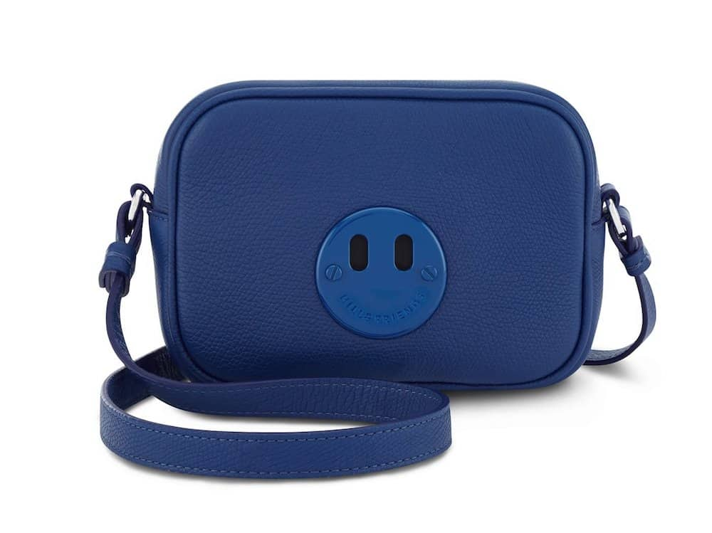 Hill and Friends royal blue camera bag with brand smilie face