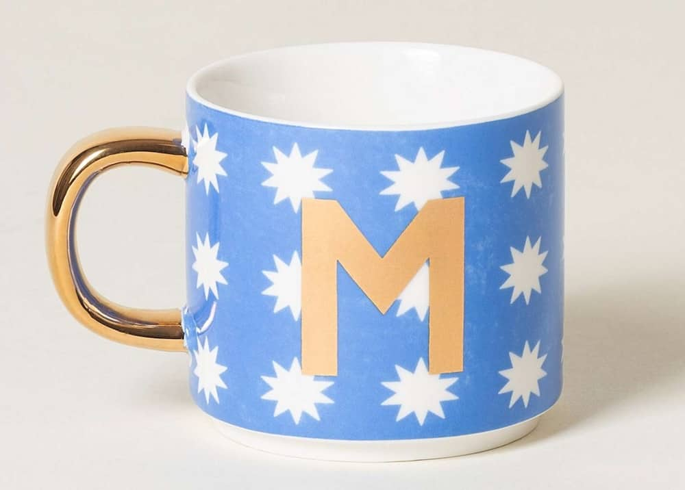 Oliver Bonas alphabet mug blue and white stars