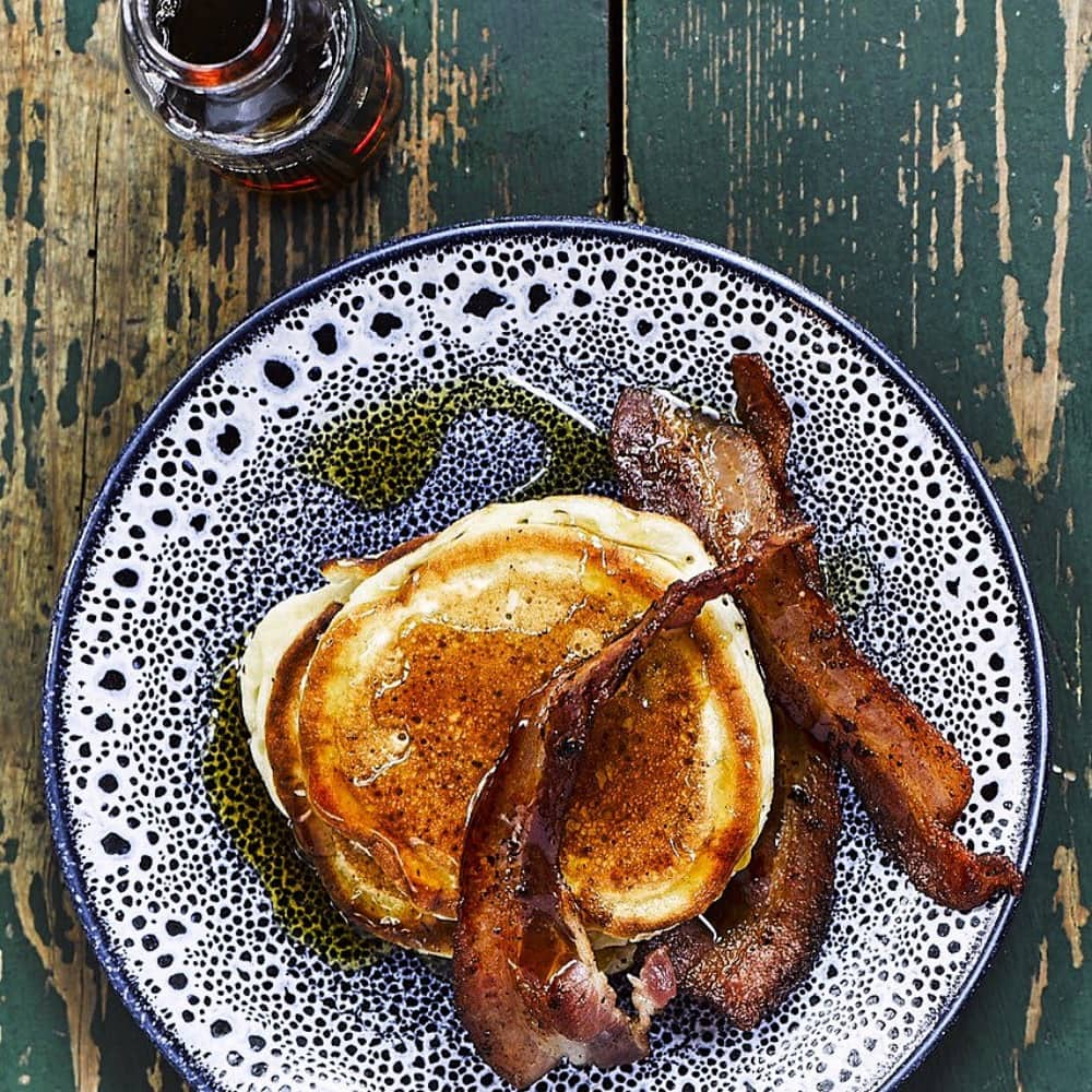 Coppa Club Pancakes maple syrup and bacon