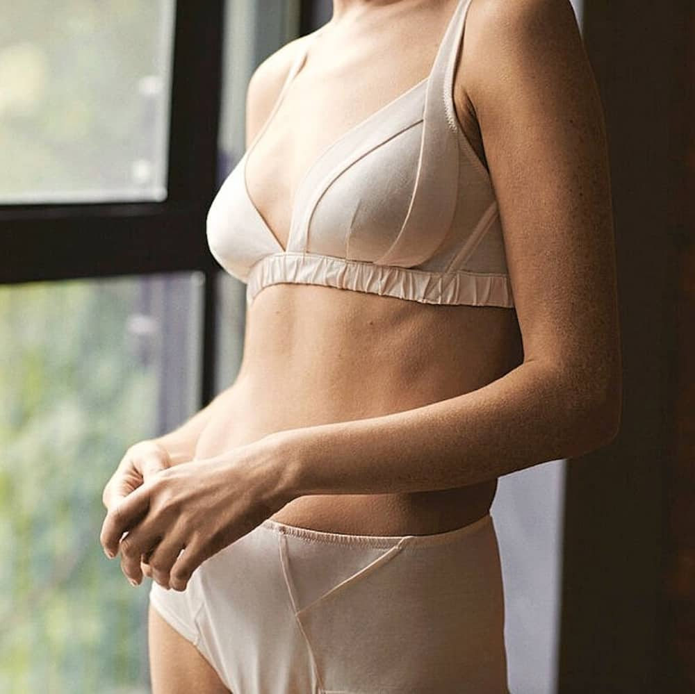 Russell England blush pink triangle non-wired bra and matching short pants