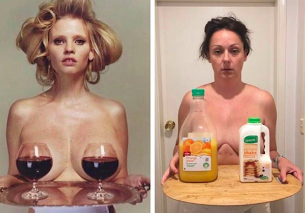 Celeste Aussie comedian funny insta accoount model cobvering boobs with wine and celeste with milk and juice