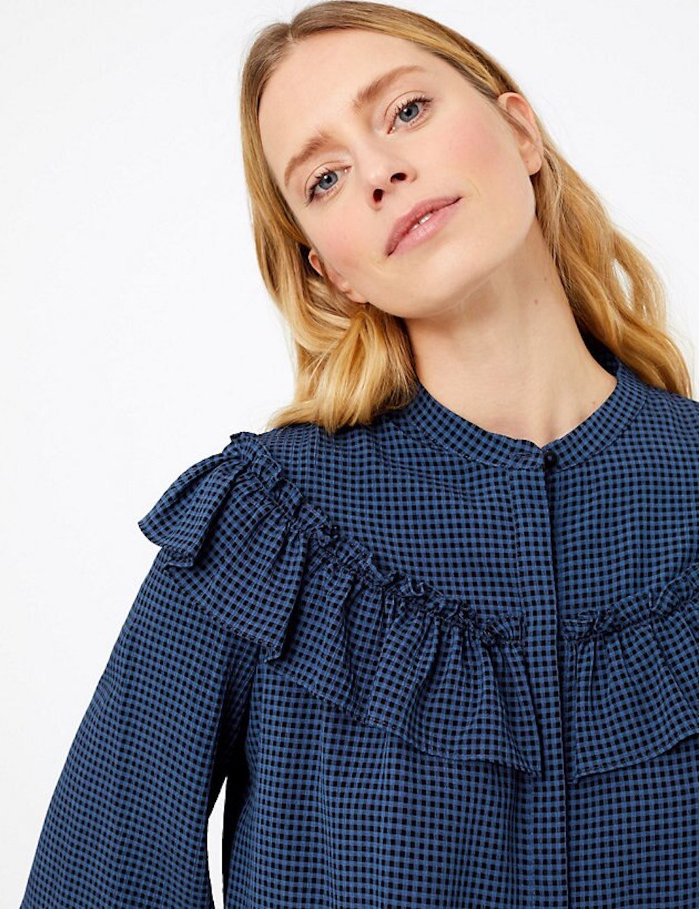 Blue and black check M&S ruffle blouse
