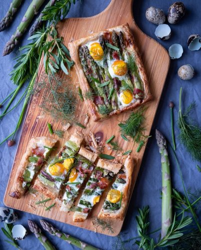 Asparagus-ham-and-quail-egg-tart-recipe