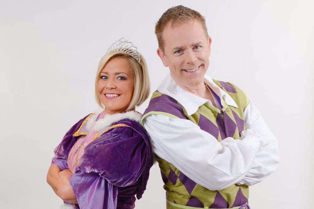 Susanne Shaw and Cbebbies star Chris Easter panto Puss in Boots Reading