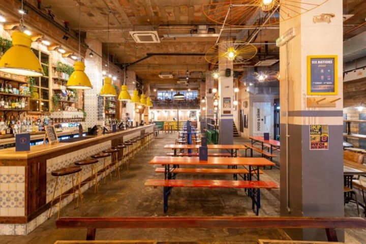 Market house reading bar and kitchen industrial interiors canteen style tables and chairs