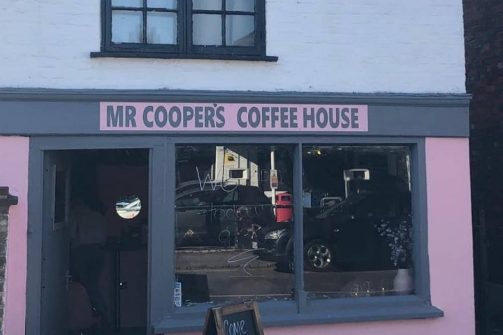 Mr Cooper's Coffee House Cookham Berkshire pink and grey period cafe