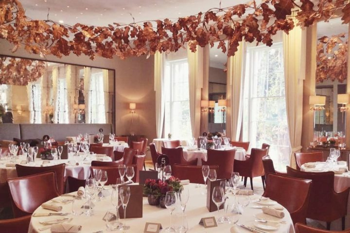 Restaurant Coworth Park copper halo of leaves hung from ceiling