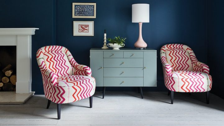 Stella-Armchair-Arlo-and-Jacob pink and red zigzag chairs and dark blue walls