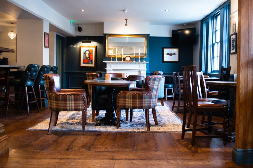 The wellington arms stratfield turgis dark blue wall wooden floors bar