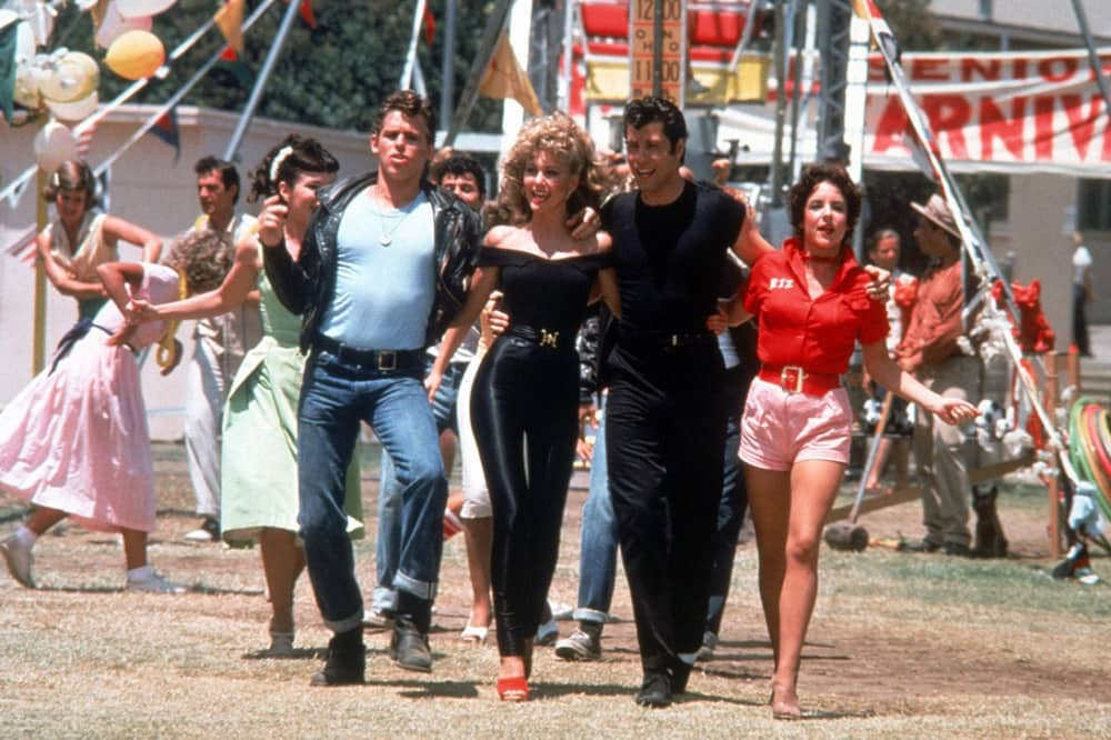 Grease carnival scene Olivia Newton John and John Travolta
