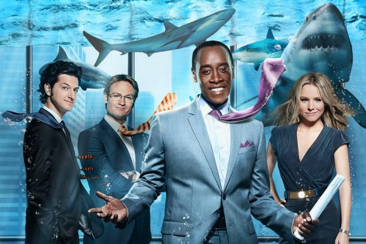 House of Lies Don Cheadle and Kirstin Bell in a shark tank