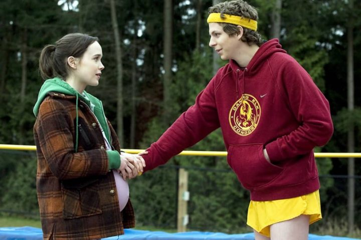 Juno pregnant teen girl with teen father in retro sports gear