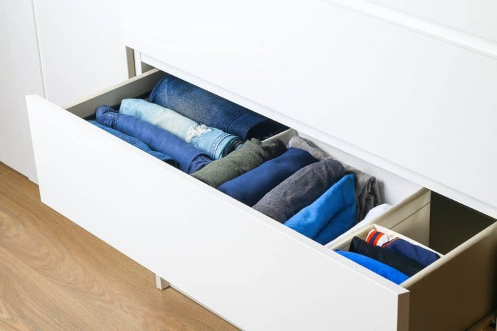 Marie Kondo declutter folded jeans in drawer