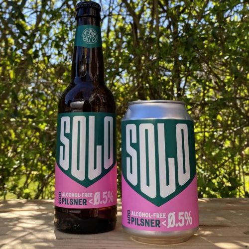west Berkshire Brewery alcohol free SOLO pilsner bottle and can