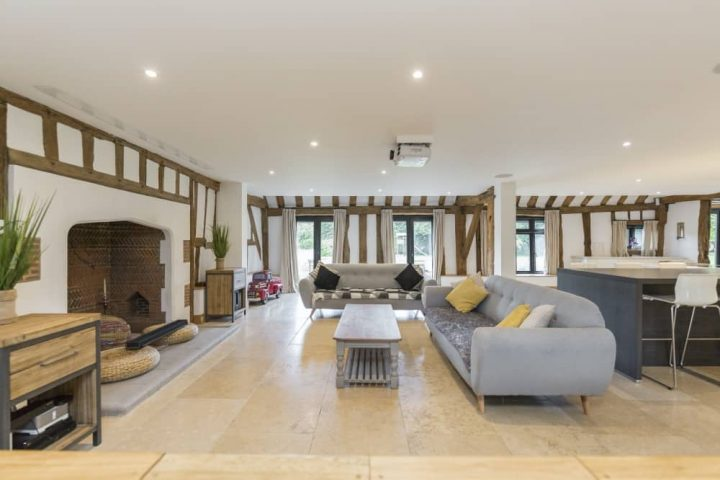 The Barn Taplow exposed beams contemporary furniture