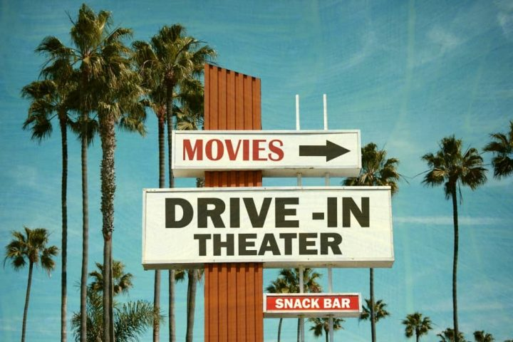 Palm springs style vintage drive in cinema sign