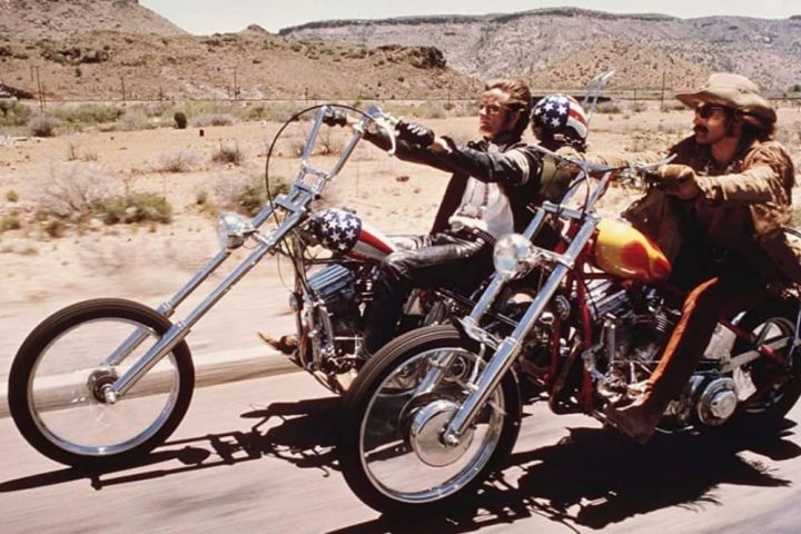 Easy Rider Peter Fonda and Dennis Hopper on Harley Davidson motorbike in 60s classic