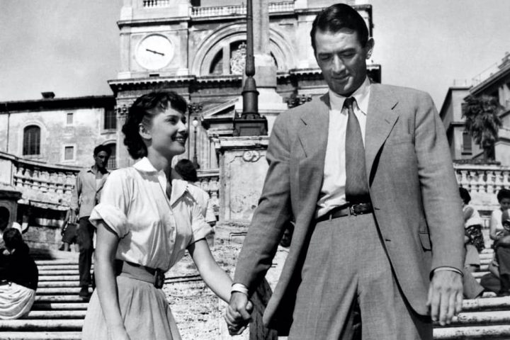 Audrey Hepburn aand Gregoory Peck Spanish Steps in Rooman Holiday