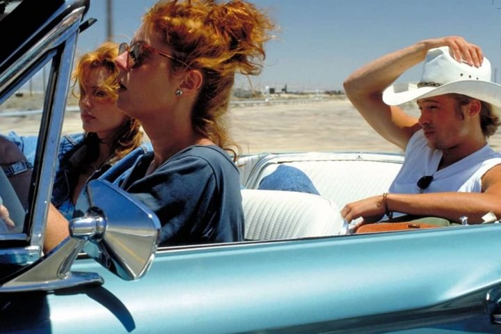 Thelma and Louise Geena Davis susan Sarandon, and Brad Pitt in convertable car