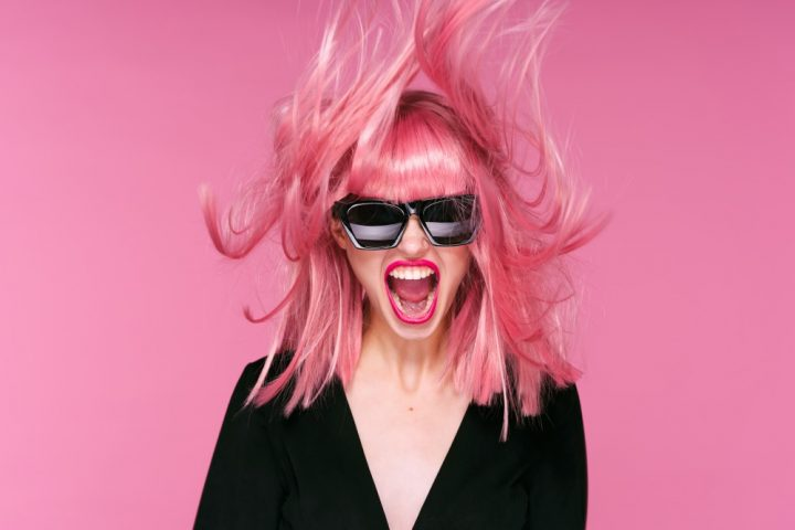 Excited model with pink hair