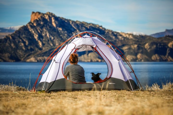 woman and dog camping by a lake surrounded by mountains