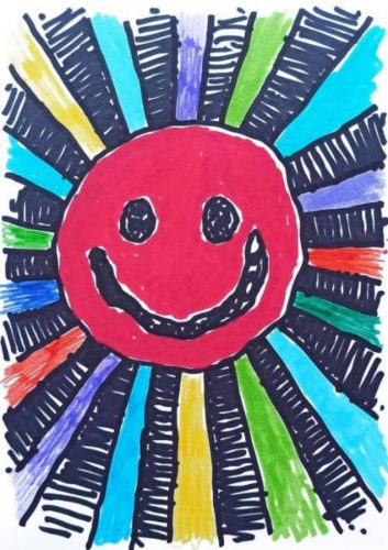 Jake and Dino Chapman Solar Anus Art on a Postcard red smiley face with colour rays