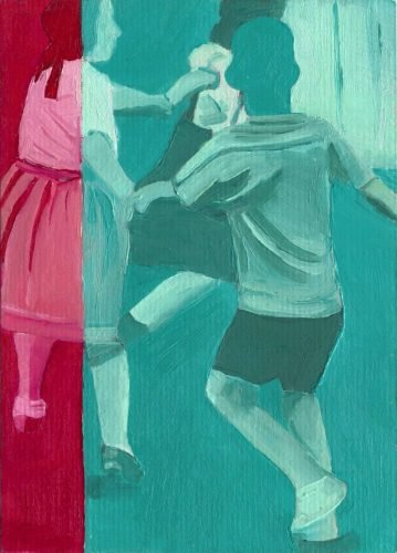 Molly Brocklehurst artist green and red blocks of colour with retro image of children playing