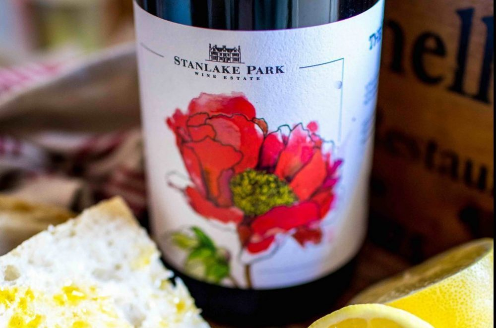 Stanlake Park Red with poppy illustrated bottle label