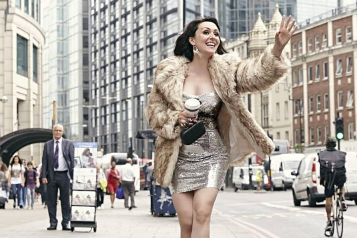 Comedian Eleanor Conway walks of shame wearing sequin mini dress and faux fur coat