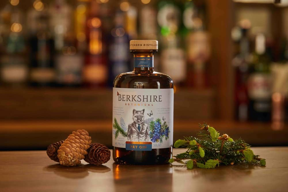 Berkshire Dry Gin and Botanicals on bar