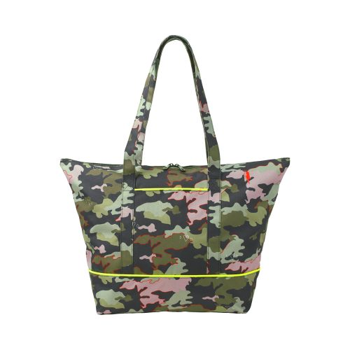 Scamp and Dude recycled plastic camo print weekend bag with neon piping trim
